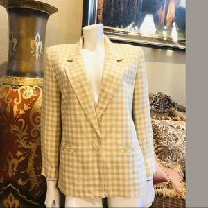 Vintage Halston III Ivory & Tan Checker Jacket 10